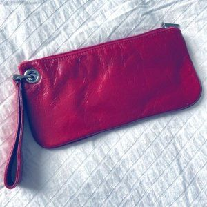Red Hobo leather Vida clutch wristlet